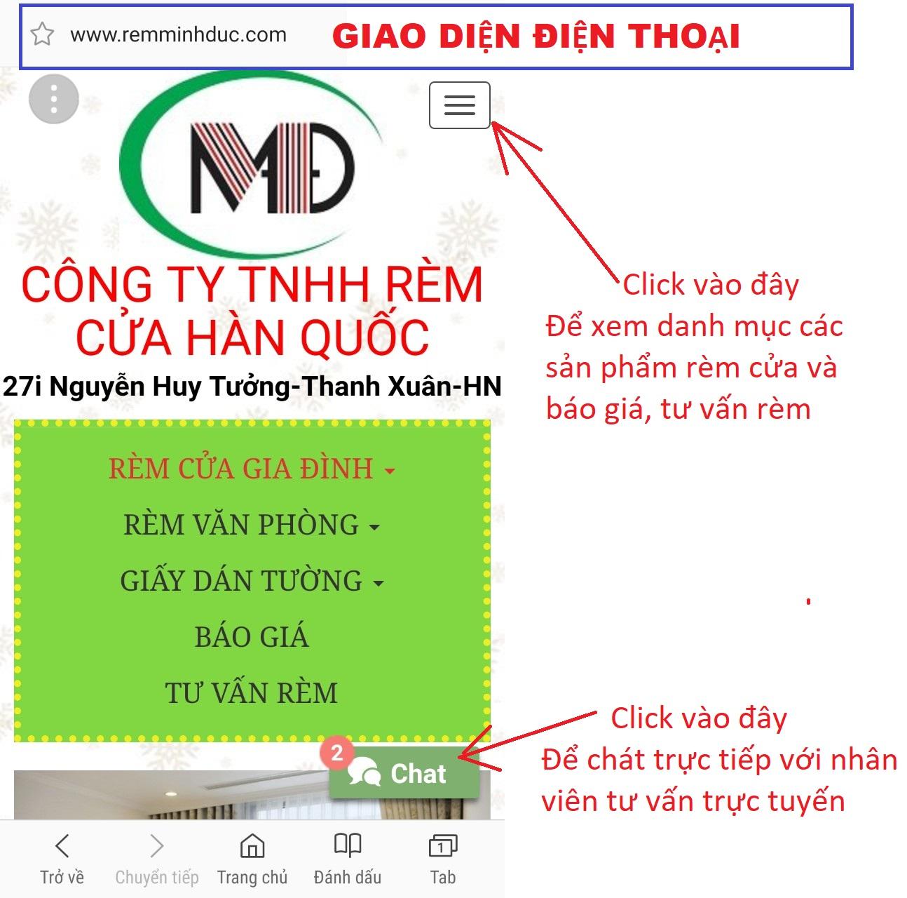 Tu van rem cua ngay tren website bang cach chat truc tuyen tren giao dien di dong